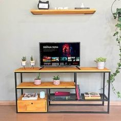 Rack Industrial, Design Industrial, Rack Tv, Home Interior Design, Corner Desk, Sweet Home, Room Decor, Shelves, House