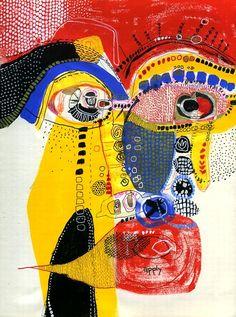 Akinao saito - Acrylic and ballpoint-pen on 21 x paper Art Inspo, L'art Du Portrait, Portrait Acrylic, Self Portrait Drawing, Portraits, Art Japonais, Art Et Illustration, Outsider Art, Psychedelic Art