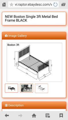 Steel Bed Frame, New Boston, Black Image, Metal Beds, Metallic, Home Appliances, Furniture, Metal Art, House Appliances