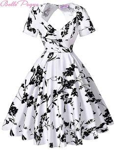 Short Sleeve Floral Print 50s Vintage Dresses Retro Swing Pinup Dance Dress Plus Size Rockabilly Dress BP000028 Alternative Measures