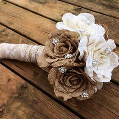 Rustic Burlap Wedding Bouquet - Large