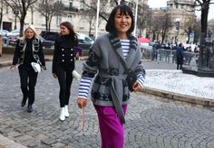centre: DB car coat w light buttons, leggings, and white (go-go) boots ;) 17-pfw-fw16-street-style