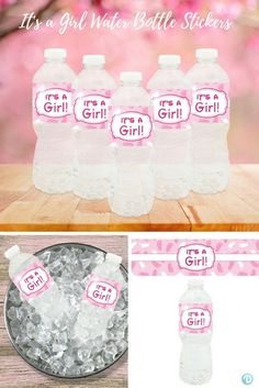 """Decorate your baby shower water bottles with this set of 20 waterproof, self-adhesive, pink and white, """"It's a Girl"""" water bottle sticker labels."""