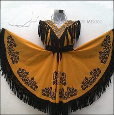Traje Regional de Tamaulipas / Vestido Campero en color mostaza con negro