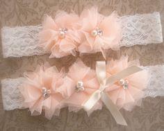 Bridal Garter Wedding Garter Set Toss Garter included Blush Peach Roses Ivory with Rhinestones and Pearls  Custom Wedding colors on Etsy, $18.00