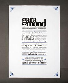 Specimen Sheet - Adobe Garamond by Sarah Treanor, via Behance