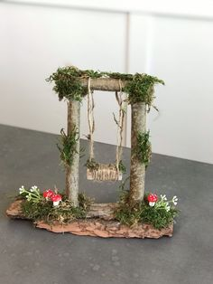forest wedding Fairy Swing/ tinkerbell / Enchanted Forest/ Wedding/Woodland Party/ Fairy Door/baby shower/lumberjack/lord of the rings/ centerpiece/ disney Fairy Crafts, Garden Crafts, Garden Art, Garden Design, Garden Ideas, Forest Crafts, Enchanted Forest Wedding, Enchanted Forest Centerpieces, Enchanted Forest Room