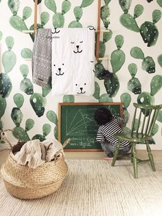 Wallpaper Inspiration for the Little Ones! We've been working on several kids rooms recently so we turned to the internet to gain some inspiration for these little spaces. Wallpaper can make … Kids Interior, Interior Design, Bold Wallpaper, Watercolor Wallpaper, Print Wallpaper, Wallpaper Ideas, Kids Room Wallpaper, Watercolor Cactus, Bedroom Wallpaper
