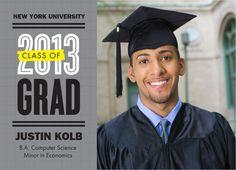Modern Type Photo Grad Graduation Announcement