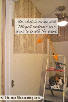 My alternative to stripping wallpaper - step 2 - sand the seams