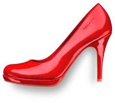 Czerwone lakierowane buty Tamaris na obcasie