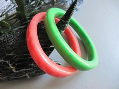 Bangles, Celluloid Bangles, Vintage Bangles, Jewelry, Bracelets, Green, Red, Plastic Bangles, Womens Gift Idea, on Etsy, $18.00