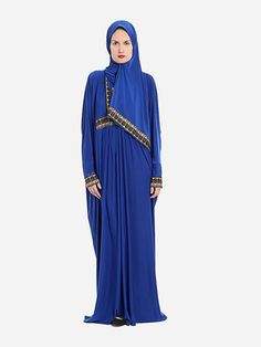 Isdal  Prayer Dress Embroidered Blue With Hijab