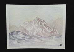 Signed Original watercolour painting by H. JOSÉ, Distant High Mountains