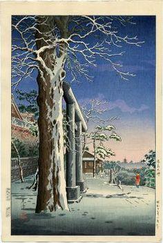Yushima Tenjin Shrine, Tokyo, woodblock print, by Tsuchiya Koitsu, Japanese Art Modern, Japanese Artwork, Japanese Prints, Art Occidental, Asian Artwork, Japanese Woodcut, Japan Painting, Art Japonais, Snow Scenes