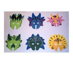Caretas de dinosaurios de goma espuma para amenizar las fiestas de los más pequeños.  Ideales para piñatas y fiestas. Material: goma espuma Dimensiones: 18 cm Precio unitario: 0,75€ Ref web: 30089