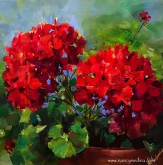 Painted Live - Living Color Red Geraniums, painting by artist Nancy Medina