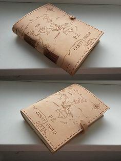 Kožený zápisník - originálny denník, hladenica, ručná práca / handmade book / bookbinding / long stitch / leather journal / notebook / diary / travel book /