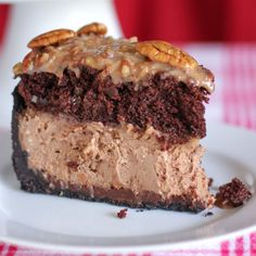 This dessert is pretty much a double chocolate cheesecake topped with a modest layer of German chocolate cake. And no, we're definitely not complaining.