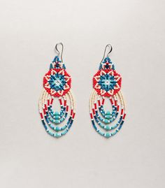 facebook.com/ziguidi.design  -   Huichol inspired flower pattern beaded earrings by ziguidi on Etsy, $40.00