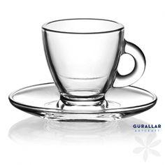 ROMA. Taza para café o té, elaborada en vidrio, incorpora plato a juego fabricado también en vidrio. Dispone de asa para facilitar su manejo. Modelo Roma. Marca Gürallar. Capacidad de 95 cc. ¡Elegante, sencilla y llena de diseño! #TazaDeCafe #MenajeDelHogar