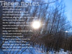 Three notes, a poem by Jude Goodwin