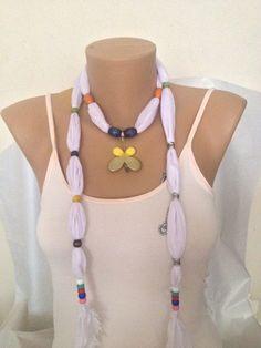White Jewelry Scarf Jewelry Scarf Scarf Necklace by MaxiJoy, $12.00