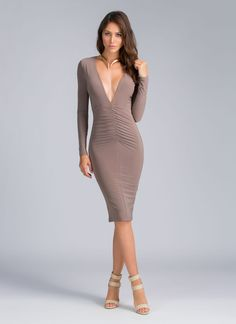Our usual default mode when picking an #OOTN is to frantically rush around. Getting ready will be a cinch once you have this ruched bodycon dress in your closet.
