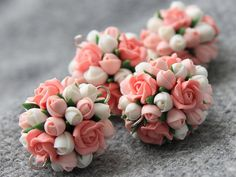 Polymer clay lower bead,polymer clay flower, flower beads,polymer clay flower jewelry  These are 100% handmade polymer clay coral pink