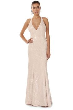 CROPPER SEQUIN NUDE GOWN from Jay Godfrey