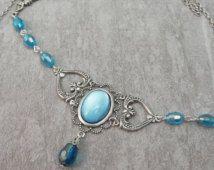 """Forehead / Headband / Tiara / Circlet / Hair ornament Accessory """"Clémence"""" / Elven Elf LOTR Fairy / Color Silver & Blue"""