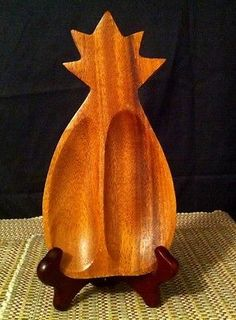 Davar Originals Wood Pineapple Spoon Rest ~ Vtg from Philippines or Trinkets