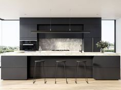 Our decorative ideas for the renovation of the kitchen buffet - HomeDBS Interior Modern, Kitchen Interior, Interior Design, Small Kitchen Plans, Kitchen Ideas, Kitchen Drawer Pulls, 70s Kitchen, Apartment Kitchen, Stools For Kitchen Island