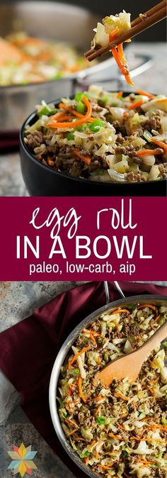 This Egg Roll in a Bowl has all of the great flavor of Egg Rolls, but it's an Easy One Pan Meal without the grain wrapper! This Healthy Egg Roll in a Bowl has all of the great flavor of Egg Rolls, but it's an Easy One Pan Meal without the grain wrapper! Diet Recipes, Cooking Recipes, Healthy Recipes, Recipies, Recipes Dinner, Cooking Time, Paleo Food, Paleo Vegan, Dinner Ideas