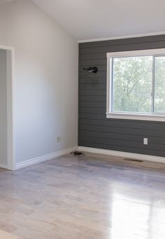 Ocean Storm by Valspar on planks, Montpelier Madison White by Valspar on wall. Jenna Sue Design Blog
