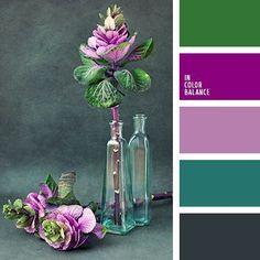 Los colores verde, celeste verdoso y gris verdoso profundo hacen resaltar esta combinación viva de tonos violetas. Tal esquema de color puede ser elegido para decorar un local para una fiesta corporativa o de amigos. Así mismo es muy adecuado para hacer un traje de carnaral o un vestido de noche bonito.