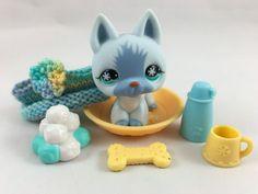 Littlest Pet Shop Blue German Shepherd #689 w/Snowflake Eyes & Accessories #Hasbro