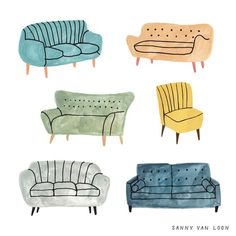 9 New Sofas for the New Year – Design*Sponge #ChairIllustration
