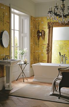 Be inspired by nature and opt for swan lake patterns like this Nina Campbell yellow wallpaper. The gorgeous colours allow the Blenheim suite by Heritage Bathrooms to shine in all its glory. Old Bathrooms, Yellow Bathrooms, Upstairs Bathrooms, Dream Bathrooms, Master Bathrooms, Master Bedroom, Seaside Bathroom, Bohemian Bathroom, Family Bathroom