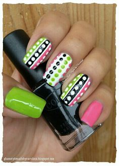 Is Dog Insurance Worth It Refferal: 5797992635 Nail Art Stripes, Dot Nail Art, Pink Nail Art, Pink Stripes, Green Nails, White Nails, Pretty Nails, Fun Nails, Plain Nails