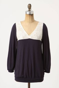 40910bfc1c979 Anthropologie Loulou Top Sz XS & S, Navy Modal Wool Ivory Lace Blouse,  Postmark