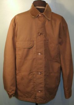 Blue Bell Canvas Brown Jean Barn Jacket Mens Size 42 Coat Flannel Lined Button #BlueBell #BarnCoat