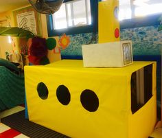 Yellow Submarine for the Dramatic play area in preschool Preschool Centers, Preschool Themes, Preschool Classroom, Toddler Preschool, Preschool Activities, Kindergarten, Dramatic Play Themes, Dramatic Play Area, Dramatic Play Centers
