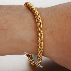 Gold Chains For Men Wheat Braided Yellow Gold Filled Bracelet Unisex Women's Men's Chain Customize Size: 5 inch India Jewelry, Fine Jewelry, Men's Jewellery, Mens Gold Bracelets, Bangles, Jewelry Trends, Jewelry Ideas, Jewelry Accessories, Gold Chain Design