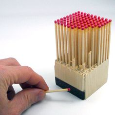 """""""Wooden Block with 100 matches is created out of one piece of wood. To use, just break a match off the block and scratch it along the block to light."""""""