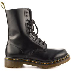 Dr Martens Women's 1490 W - Black Smooth ($118) ❤ liked on Polyvore featuring shoes, boots, black, black leather shoes, lace up boots, tall lace up boots, genuine leather boots and black laced boots