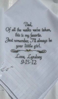Cute idea tlhave thi napkin sitting at the table where your dads going to sit so this is special only for him or if your like me make one for your granddaddy to