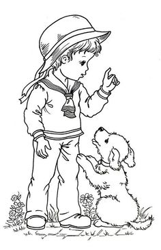 Little World - Mama Mia - Picasa Albums Web Dog Coloring Page, Adult Coloring Book Pages, Cute Coloring Pages, Christmas Coloring Pages, Coloring Pages For Kids, Coloring Sheets, Vintage Coloring Books, Human Drawing, Outline Drawings