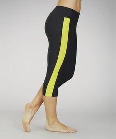 Look what I found on #zulily! Black & Yellow Spring Stripe Capri Leggings #zulilyfinds