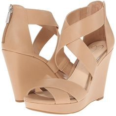Jessica Simpson Jadyn (Ambra Ruby Tumbled) Women's Wedge Shoes ($69) ❤ liked on Polyvore featuring shoes, sandals, heels, wedges, jessica simpson sandals, ankle strap heel sandals, wedge sandals, wedges shoes and ankle tie wedge sandals